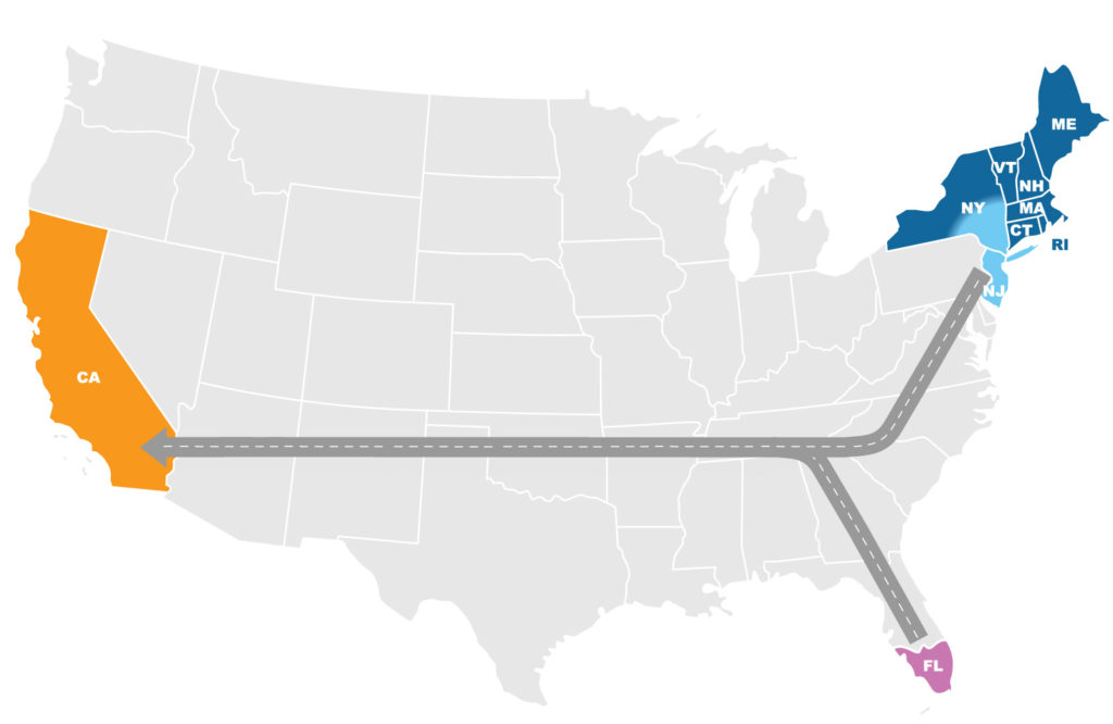 California Inbound Service Map